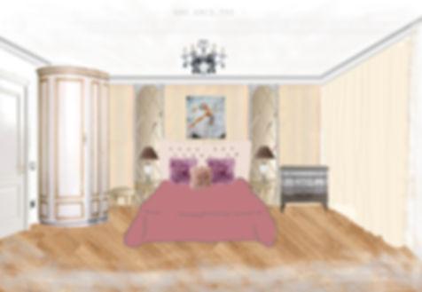 АМСД, дизайн интерьера квартиры, маленькая спальня, дизайн спальни, трехкомнатная квартира, коллаж, неоклассика, свободная классика