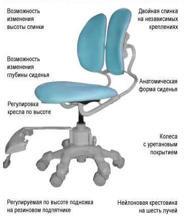 Регулировка кресла по высоте, анатомическая форма сиденья, возможность изменения высоты спинки