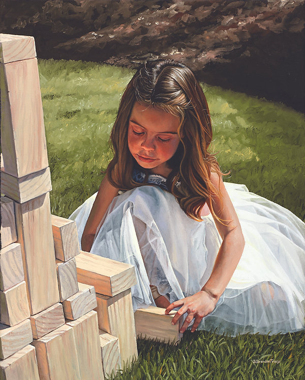 painting of girl playing with blocks, S. Brandon Tracy Fine Art, oil painting