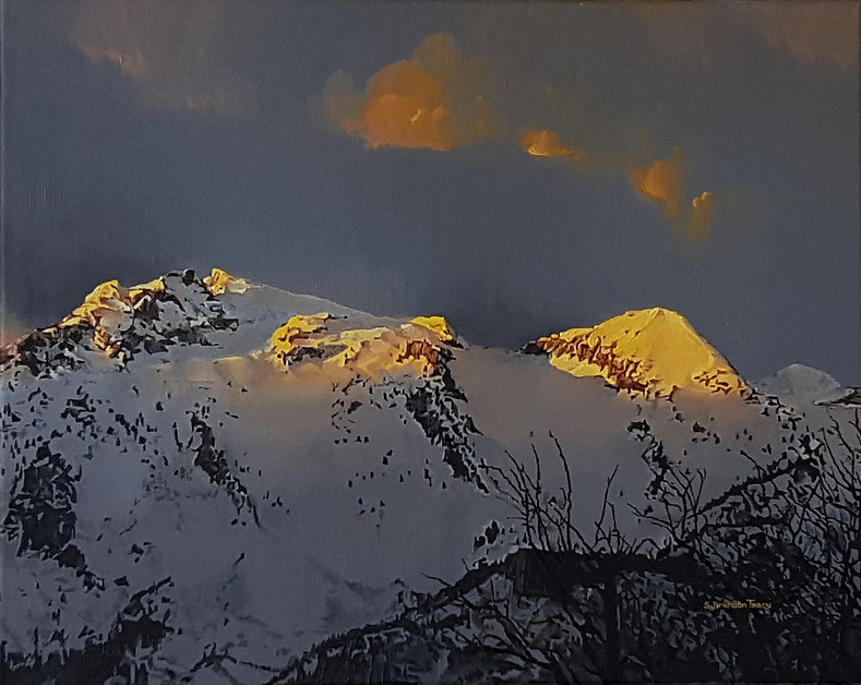 utah mountains sunset painting