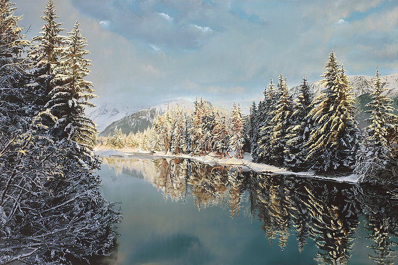 Alaska (original size 24x36), S. Brandon Tracy oil painting, Brandon Tracy landscape painting