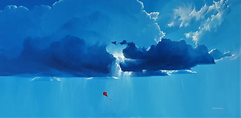 clouds sky kite oil painting