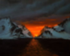 sleeping sun.jpg sunset painting snowy mountains ocean sunset oil painting
