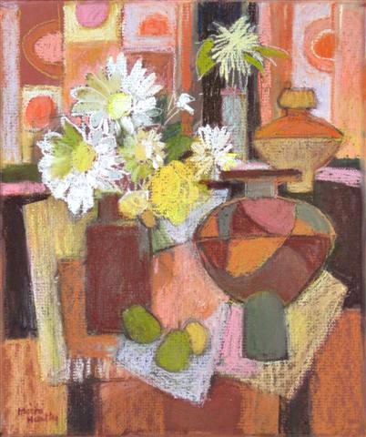 Still Life, Flowers & Pears. £950