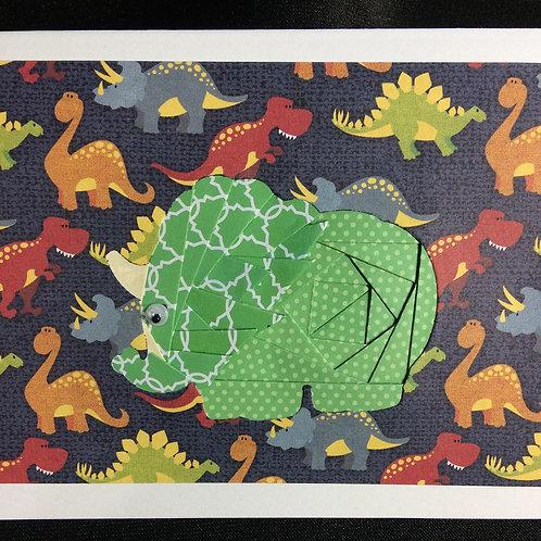 Dinosaur/Triceratops Iris Folding Greeting Card Kit