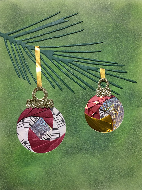 Tree Branch with Ornaments Greeting Card Kit
