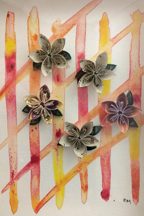 Origami Flower Trellis Wall Hanging