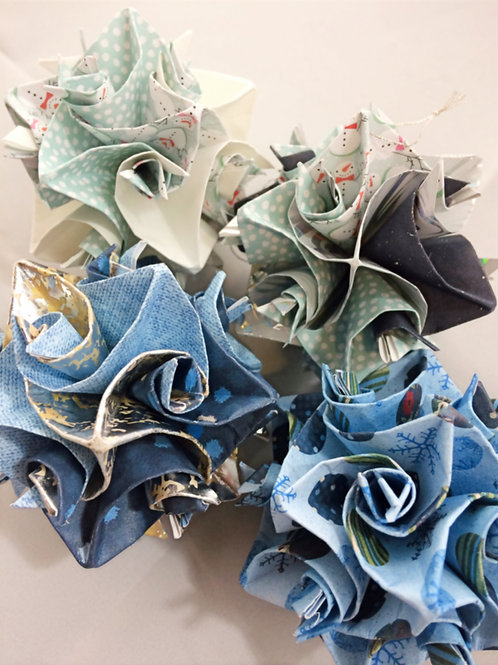 Blue & White Winter Colors Origami Ornaments Large Size