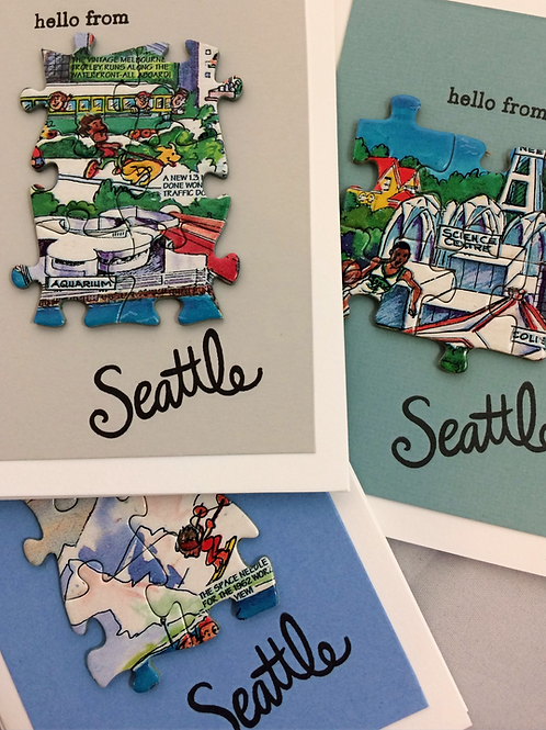 Vintage Seattle Puzzle Greeting Card