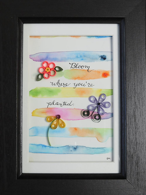 Watercolor Bloom Where Planted Wall Hanging