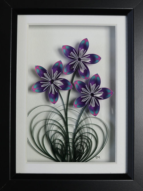 Purple Origami Flower Wall Hanging