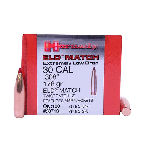 """Hornady .30 cal 308"""" 178gr ELD Match 100pk"""