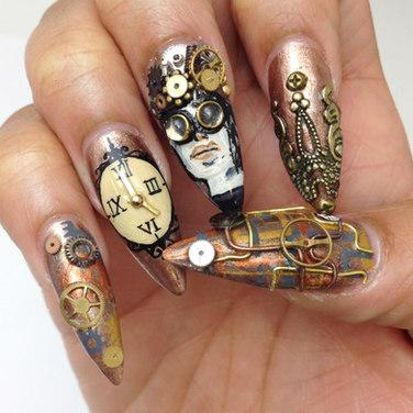lavette cephus, beaute asylum, steampunk nails, steampunk nail art steam