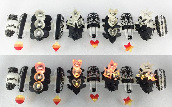 led nails, lavette nails, light up nails, 3D nails
