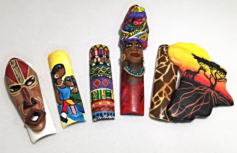 african art, africa art, african mask lavette cephus, beaute asylum, hand painted art, nail art afraican nail art, 3D nail art