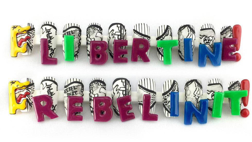 libertine nail art lavette cephus beaute asylum, magnet nails 3D nails, water color art, water color nail art, hand painted nail art