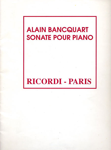 Sonate pour piano n°1 (1988) | Alain Bancquart