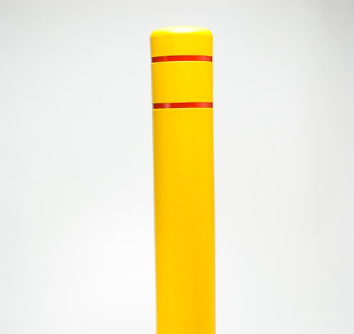 "Yellow Bollard Reflective Bollard Cover - 7' x 52"" Yellow Cover With Red Strip"