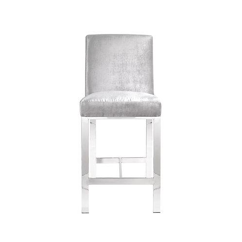 Excella Emiliano Grey Velvet Bar Chair