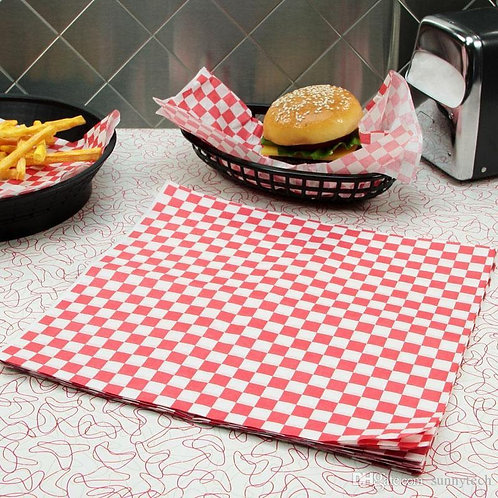 """12""""x12"""" Red Checkered Wax Paper 1000/case"""