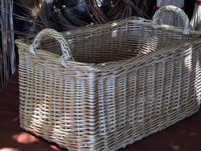 Square Willow Basket with Unique Woven Side Handles
