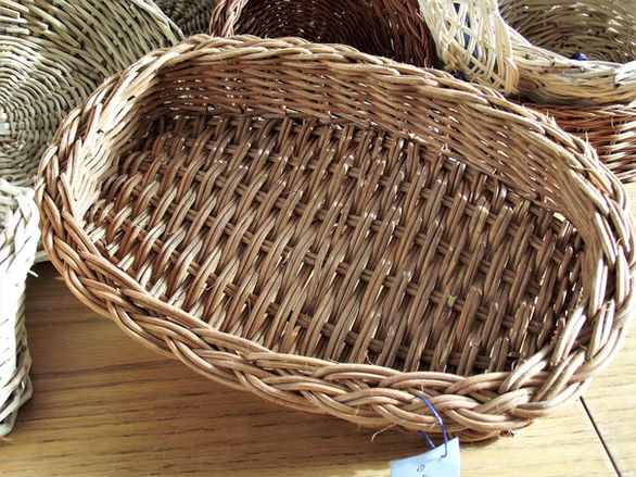 Square-Oval Basket from Dyed Rattan