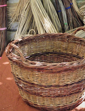 Large Log Basket from a Variety of Locally Foraged Weaving Materials