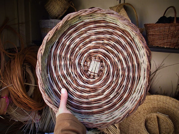 Low Spiral-Pattern Basket from Local Weaving Materials