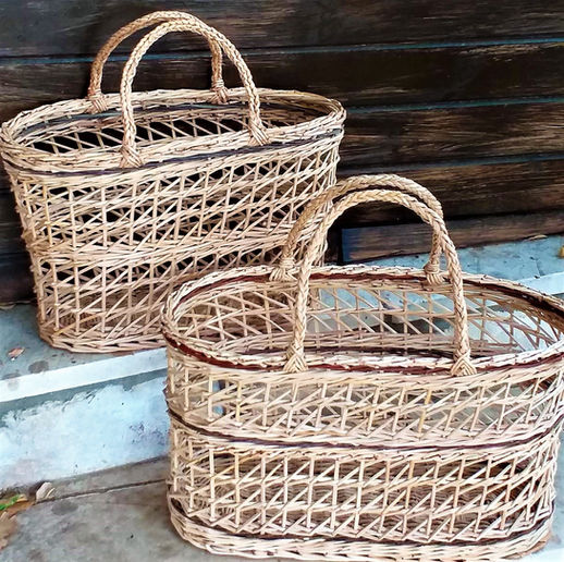 Oval Shopping Baskets with Flexible Braided Handles