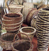 Different Baskets Made from Locally Gathered Weaving Materials
