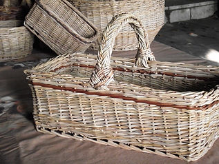A square willow basket with a special handle