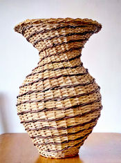 Spiral Vase-Like Basket from Local Materials