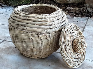 Round-Sided Basket with a Lid - Showcasing the Rope Coil Weaving Technique