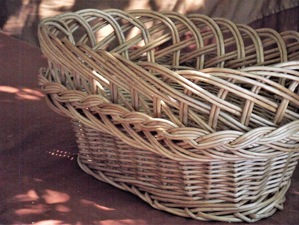 Buff Willow Basket with a Decorative Finish