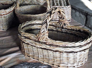 Oval Basket with a Braided Handle - Made from Local Weaving Materials