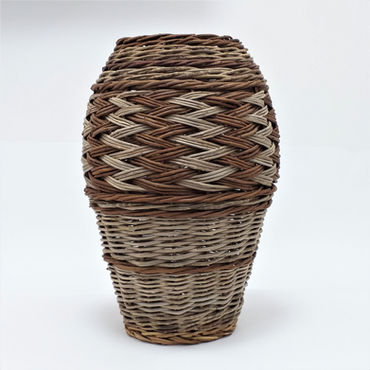 Tall Vase-Like Basket from five Local Materials
