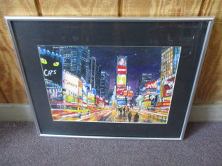 NYC Time Square print with movement effect - silver frame - 20x16