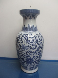 Asian style blue and white floor vase with narrow neck and wide top on large vases, asian paintings, oriental style vases, asian bamboo, japanese tall vases, tall clay vases, big decorative vases, oversized vases, asian bowls, vintage glass vases, asian clothing, asian clocks, asian floor beds, asian mirrors, asian lamps, oriental porcelain vases,