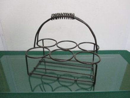 Metal counter top wine bottle holder with handle - holds 6