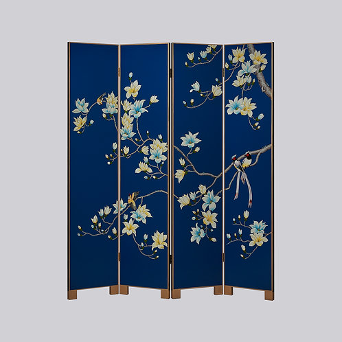 4 Panel Hand Painted Screen - Blue White Magnolia