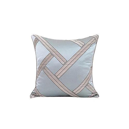 Faux Silk Cushion (Light Blue Weave)