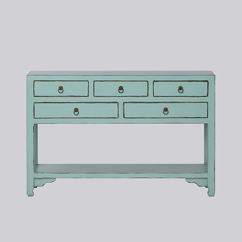 5 Drawer High Leg Console - Mint Antique