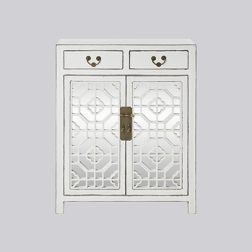 Lattice Cabinet with Mirror (White Antique)