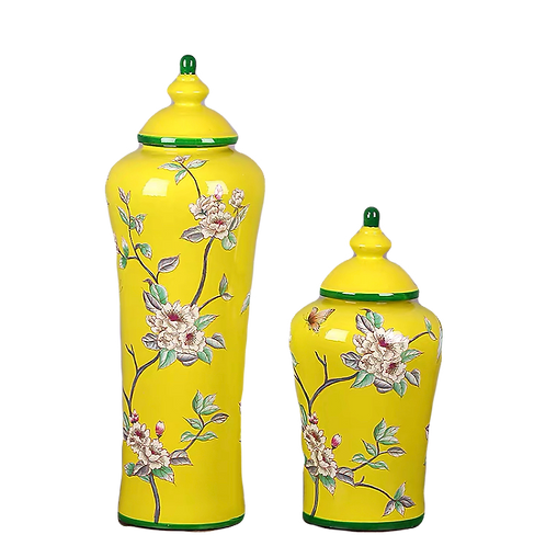 Painted Tea Jar (Yellow Cherry Blossom)