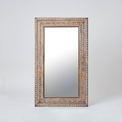 Wooden Carved Floor Mirror (Beige & Dark Wood)