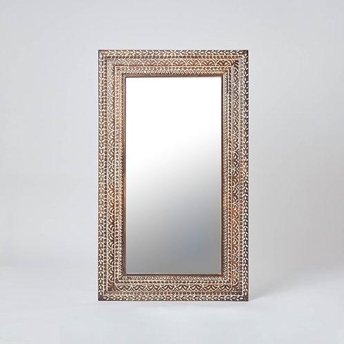 Wooden Carved Floor Mirror (Beige & Dark Wood)