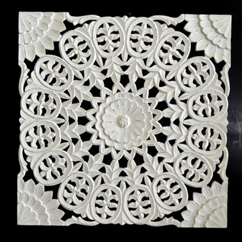 Wooden Carved Wall Decor (White Antique)