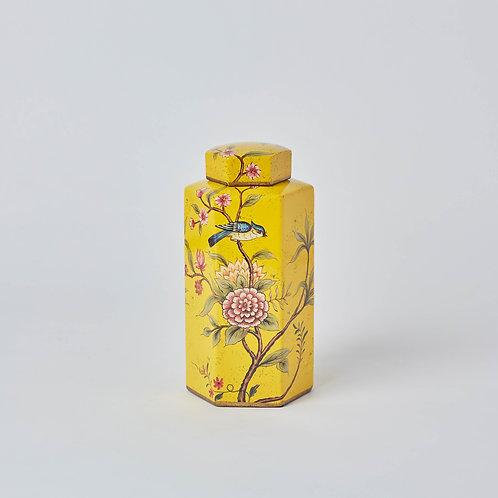 Hexagonal Tea Jar (Yellow Birds & Flowers)