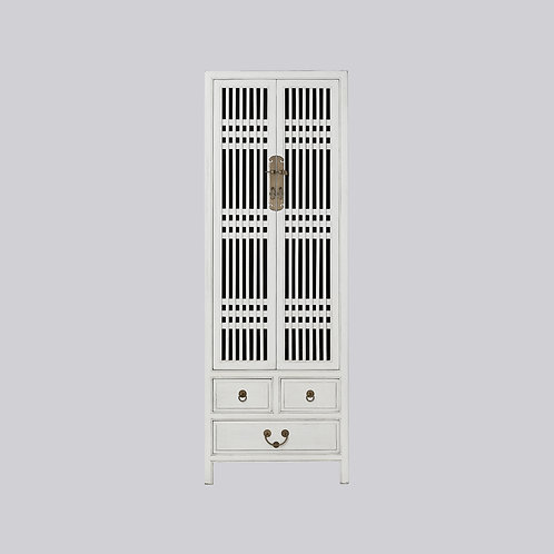 Tall Lattice Cabinet (White Antique)