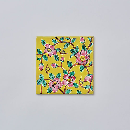 Hand-painted Porcelain Tile Trivet (Flowers Yellow)